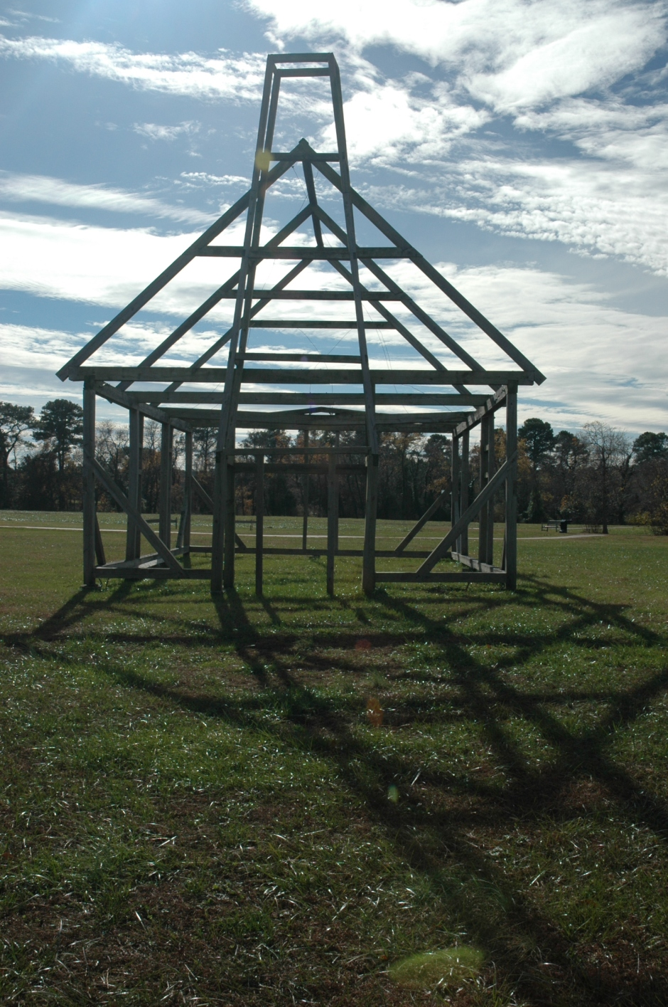 "Ghost frame of ""the priests' house,"" probably the site of Maryland's first public place of worship for Catholics. Photo: Margaret Yocom, 2013."