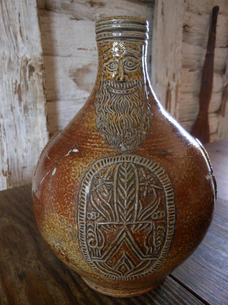 Replica face jug, Smith's Ordinary, St. Mary's City.  Photo: Margaret Yocom, 2013.