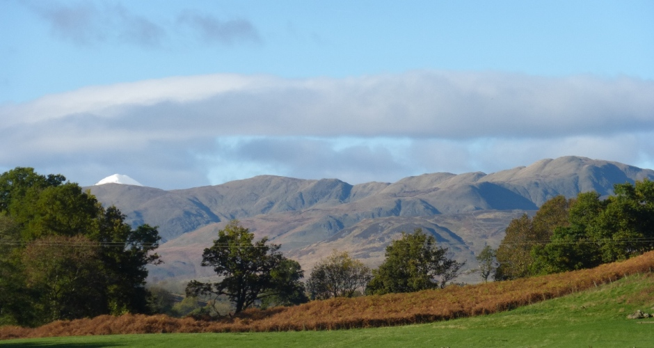 Glenartney in November, looking NW toward snowy Ben Vorlich. Photo by Hugh Rose, 2013.