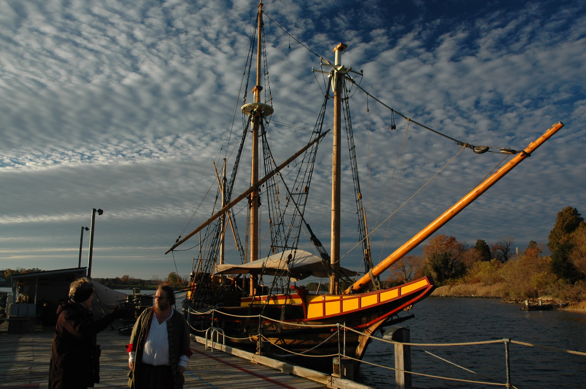 The Maryland Dove, replica of a typical 17th c. inter-coastal trading vessel. Historic St. Mary's City. Photo: Margaret Yocom, 2013.