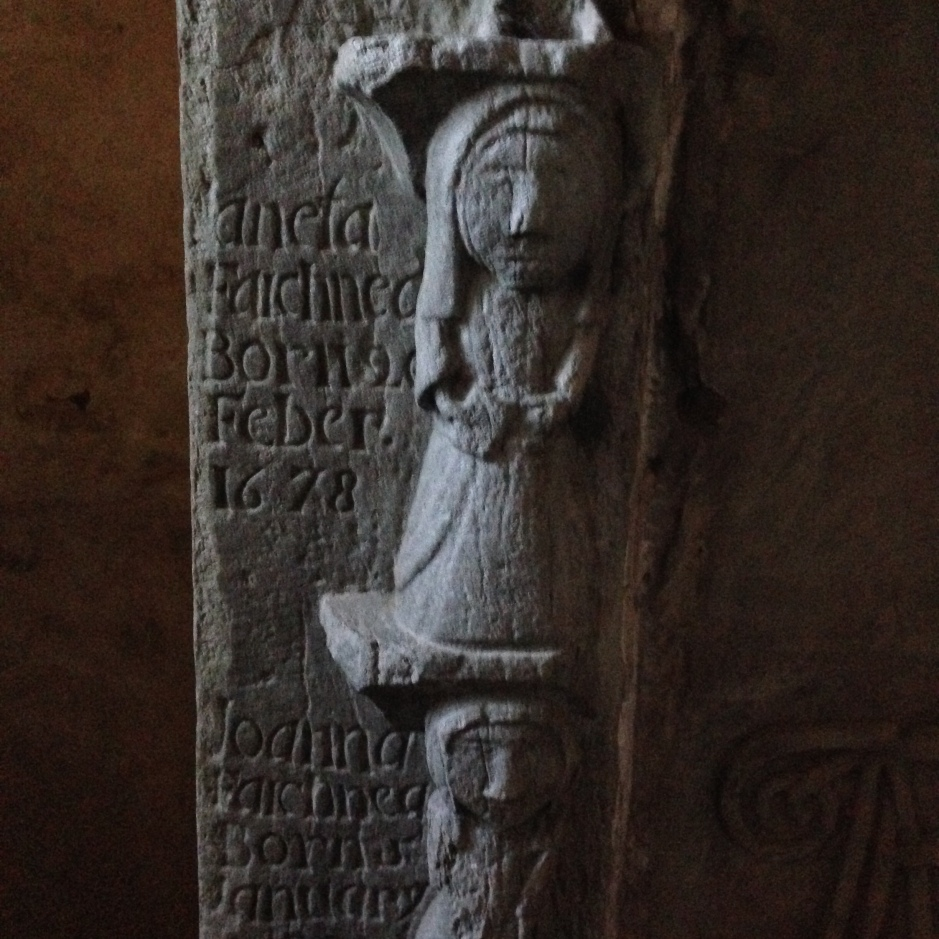 Detail from a memorial plinth in the Drummond family chapel, Innerpeffray. Photo: Susan Tichy, June 2014.